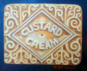 Custard Cream Oil Painting by Hannah Dosanjh